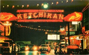 Colorpicture 1950s Mission Street Ketchikan Alaska Night Neon Postcard 7742
