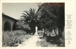 San Diego California~Mother Mission~St Joseph Statue In The Garden~1940s RPPC