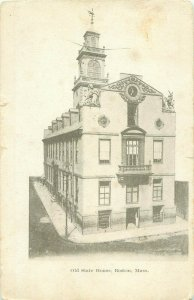 Old State House Boston MA Black and White Photo 1907 Postcard, Telegraph Office
