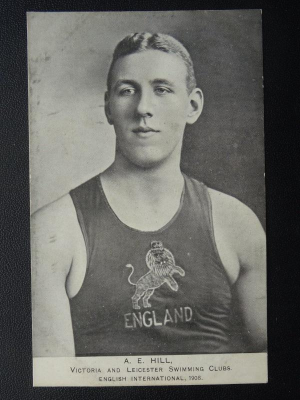 Mr A.E. Hill OLYMPIC SWIMMER Victoria & Leicester Swimming Clubs c1908 Postcard