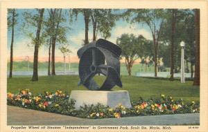 Sault Ste Marie Michigan~Propeller Wheel of Steamer Independence~1940s Postcard