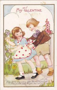 My Valentine, Boy chasing girl wearing heart apron, Poem, PU-1933