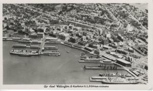Wellington & Harbour NZ New Zealand Aerial View Ships Real Photo Postcard D16