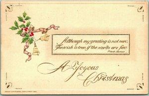 Vintage 1914 CHRISTMAS Embossed Greetings Postcard A Joyous Christmas
