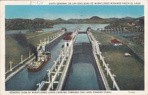 General view of Miraflores Locks looking toward the Lake, Panama Canal, PU-1934