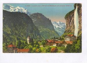 Lauterbrunne (797m) Mit Staubbach Und Jungfrau (4166m), Bern, Switzerland, 19...