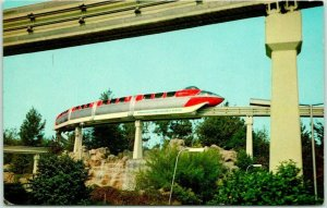 1960s DISNEYLAND California Postcard Red Monorail Car / Submarine Lagoon #E-6