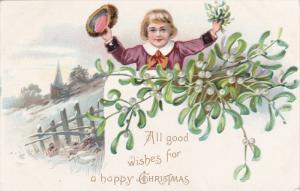 TUCK #102, CHRISTMAS: All good wishes for a happy Christmas, Boy holding Ol...