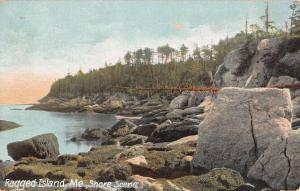 Ragged Island Maine Rocky Shore Scene Scenic View Antique Postcard K65511