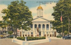 Bellefonte Pennsylvania~Centre Co Court House~Statue~Cars~Houses 1940 Linen PC