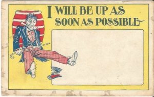 Antique Comic Postcard, Man sitting on ground with Cane Top Hat fell off