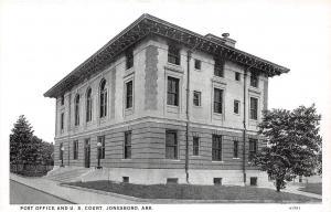 Arkansas AR Postcard c1940 JONESBORO POST OFFICE and U.S. COURT Building