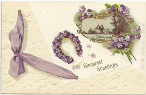1910 Antique Postcard - Sincerest Greetings - Purple Forget-Me-Nots Flowers