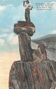 LPH17 Black Hills South Dakota, SD, Postcard Balanced Rock near Rockford