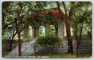 Oklahoma City~Wheeler Park Entrance~Steps Down from Trolley Stop~1911 Postcard