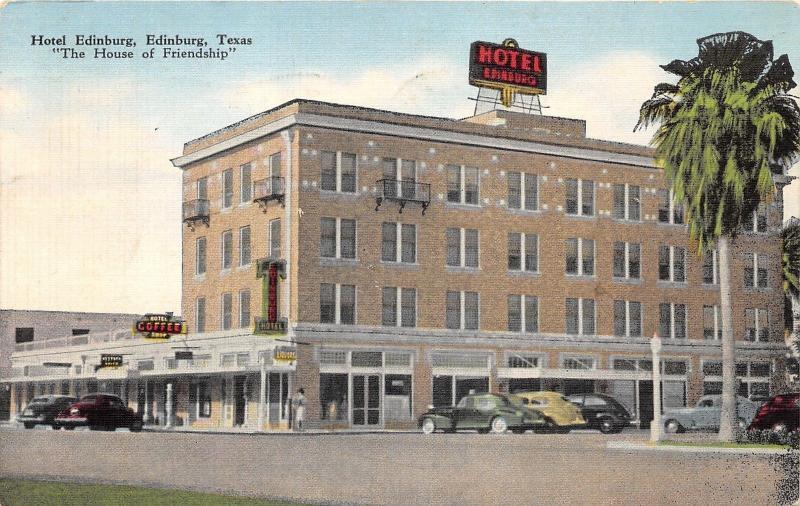 Edinburg Texas Hotel 40s Cars Parked In Street 1944 Postcard