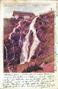 Czech Republic Pozdrav z Krkonose Labsky vodopad 02.24