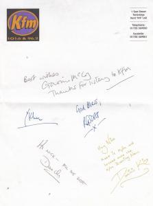 KFM Tonbridge Kent Radio Dominic King AUTOGRAPH FROM FIVE DJs Hand Signed Letter