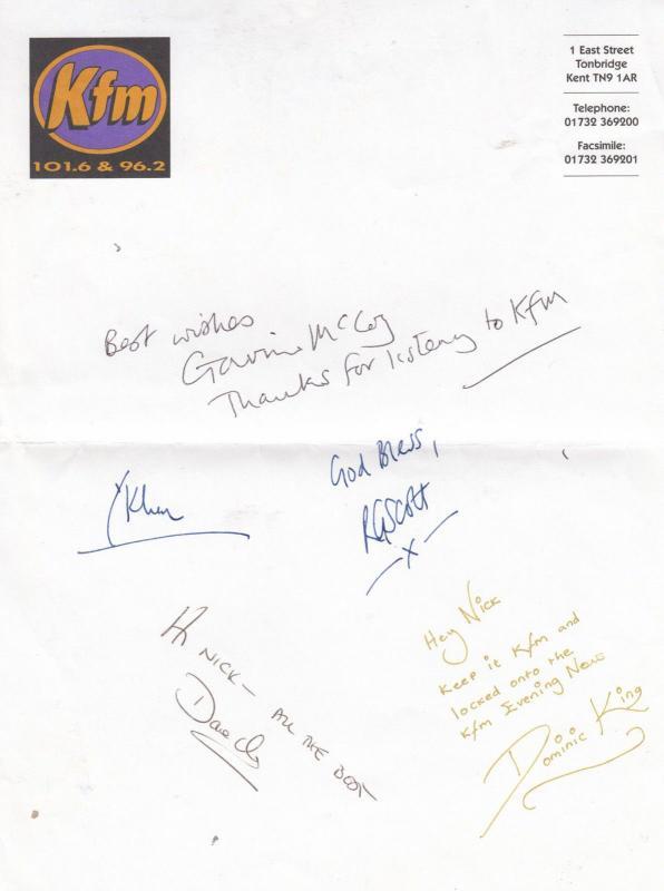 KFM Tonbridge Kent Radio Dominic King AUTOGRAPH FROM FIVE DJs Hand
