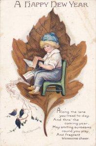 NEW YEAR; Little boy sitting on green chair playing accordian, Brown Oak Leaf...