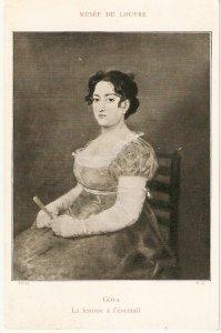 Goya. La femme a l'eventail Fine painting, old vintage French postcard