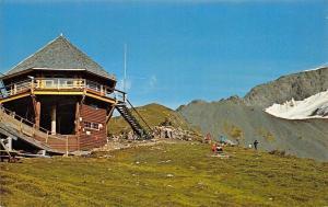 Mt Alyeska Alaska~Sun Deck~Double Chair Ski Lift Terminal~1950s Postcard