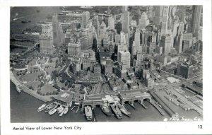 USA Aerial View of Lower New York City RPPC 03.03