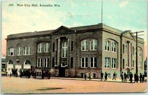 Kenosha, Wisconsin Postcard New City Hall Building / Street View 1915 Cancel