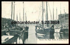 3903 - ST. JOHN NB Postcard 1934 Market Slip by Hall Bookstore