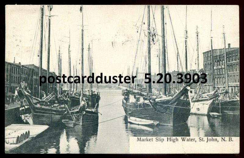 3903 - ST. JOHN NB Postcard 1934 Market Slip by Hall Bookstore