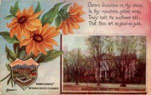 NV - State Flower & Capitol. Sunflower & Carson City