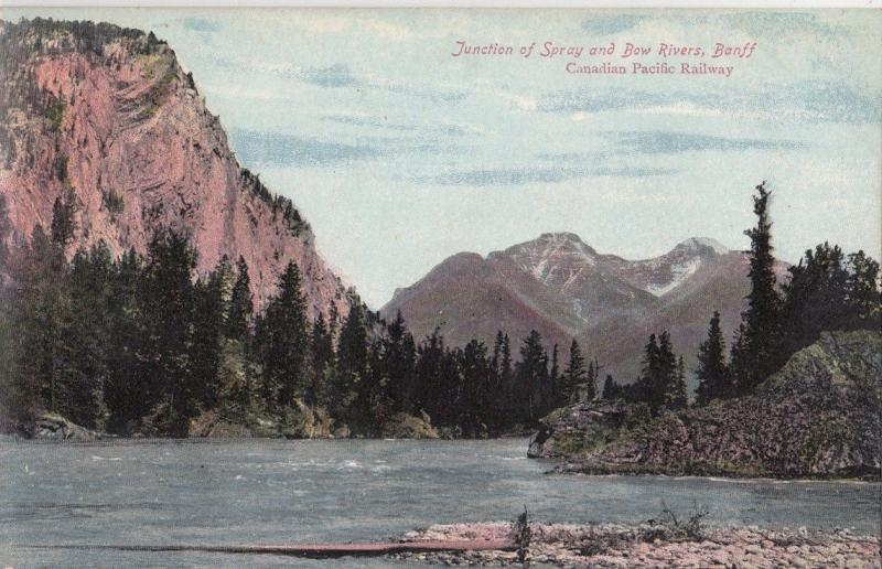 B77442 Banff junction of spray and bow rivers  canada scan front/back image