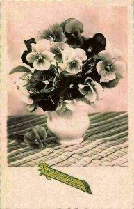 Gelukkige Verjaardag Flowers in Vase Fleurs Happy Birthday Postcard