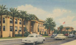 Van Buren Street Façade of Phoenix Union High School Arizona Linen Postcard