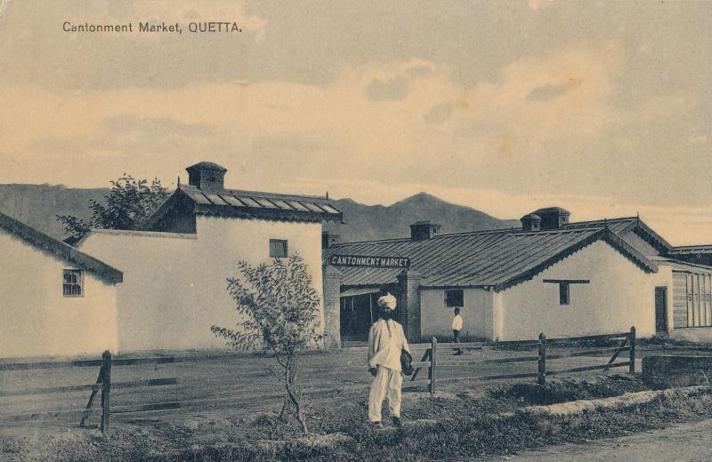Quetta Cantonment Market Pakistan Real Photo Old Postcard