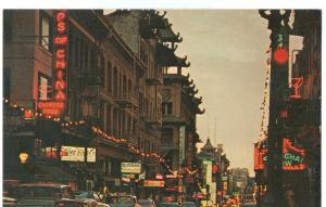 USA, San Francisco, Chinatown at night, 1960s unused Postcard