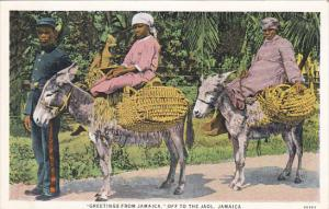 Greetings From Jamaica Natives On Donkeys Off To The Jaol