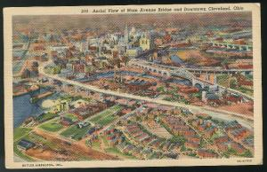 OH Downtown Cleveland Aerial View Main Ave Bridge Ohio Curteich Linen Postcar