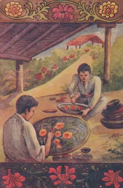 Sharing Mexican Food In Temple Old Mexico Painting Postcard