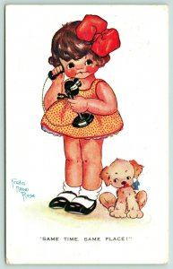 Freda Mabel Rose~Same Time Same Place~Lil Girl on Candlestick Telephone~Dog~1929