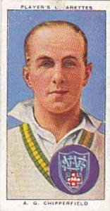Player Vintage Cigarette Card Cricketers 1938 No 40 A G Chipperfield New Sout...