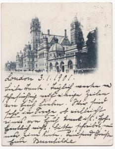 London; Imperial Institute Court Size Postcard, Tottenham SO PMK 1900 To Germany