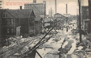LPS36 Erie Pennsylvania 1915 Flood Postcard 14th and French Street Damage