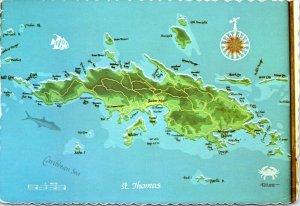 postcard  U.S. Virgin Islands - St. Thomas map