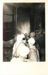 End of the Barge~Sailors Shoot Hose Into Hatch~Backfires~1940s Real Photo~RPPC