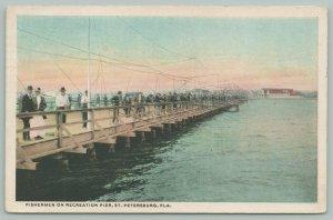 St Petersburg Florida~Recreation Pier Fishermen~Electric Trolley Lines~1919 PC