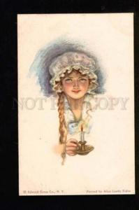 049689 Illuminated Girl by Alice Luella FIDLER vintage PC