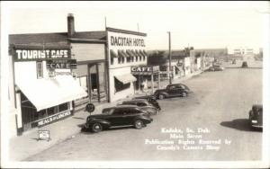 Kadoka SD Main St. Vintage Cars & Hotel Real Photo Postcard