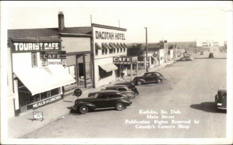 Kadoka Sd Main St Vintage Cars Hotel Real Photo Postcard