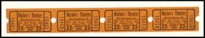 Four .22 Cents Marlow's Movie Theatre Tickets, Murphysboro, Illinois/IL, 1950's?